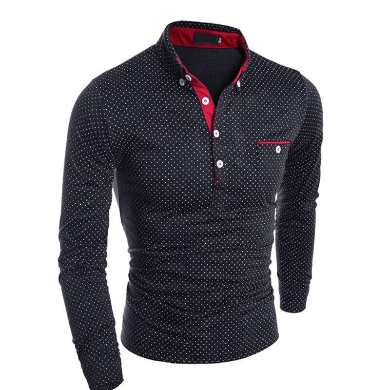 NEW 2019 Fashion spring autumn long sleeve British dot printed Causal   polos   Breathable Half cardigan front pocket   polo   shirts