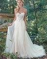 Amdml Espumante Cristais Glamorous Lantejoulas Pérolas Vestidos de Casamento 2017 A Linha de Tulle Saia Querida Abrir Robe De Mariage