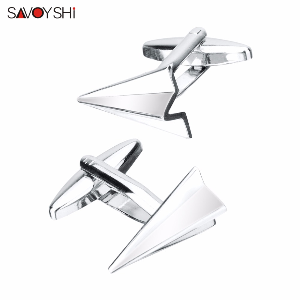 SAVOYSHI Novelty Silver color Airplane Cufflinks for Mens Shirt Cuff buttons High quality Cuff links Brand Fashion Man Jewelry image