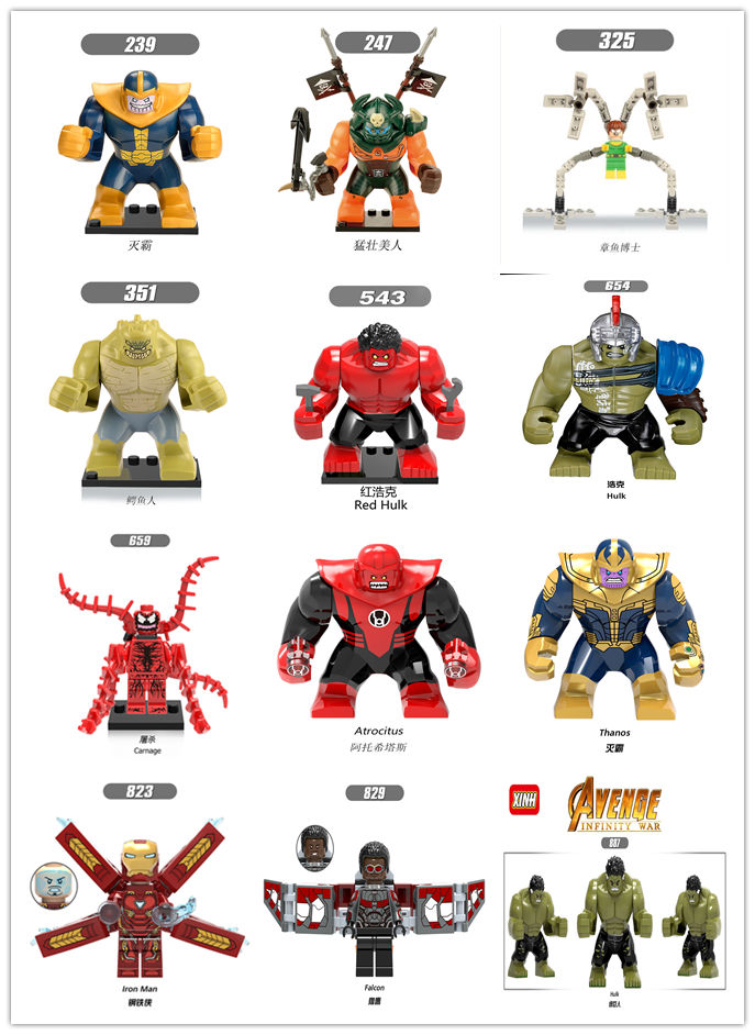 single sale big size StarWars Marvel batman block figures captain Compatible with legoe toys building blocks star wars child