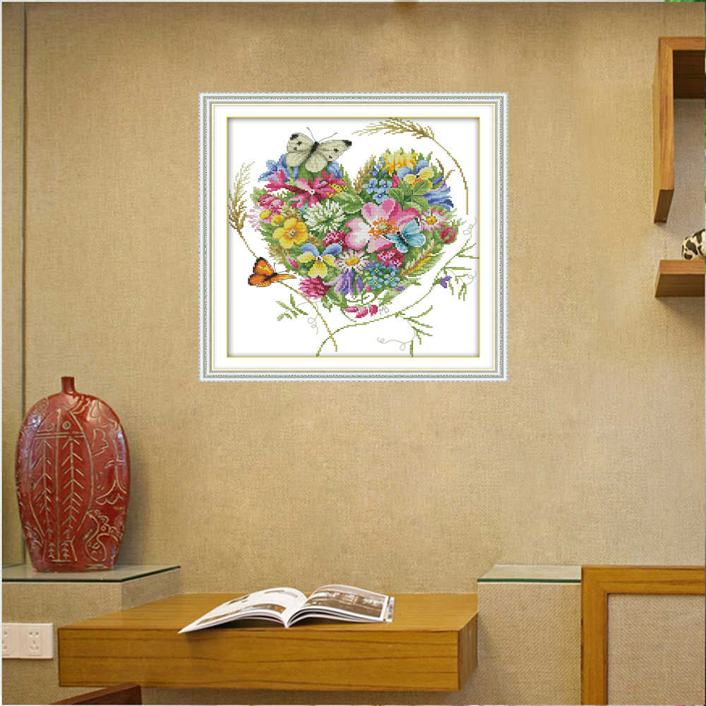 Joy Sunday Cross Stitch Butterflies Love Flowers Clear Patter Floral Flower Print Counted Pattern Cross-Stitch Kits for Beginner