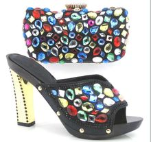 Italy Shoe And Bag Set Upper Material Cotton Fabric African Shoe With Bags black Colors Italian