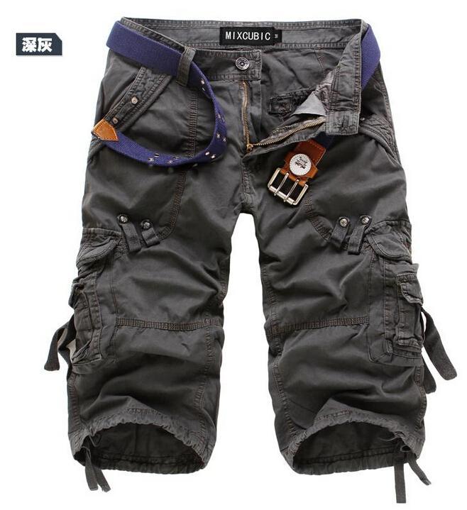 Для мужчин брюки-карго Шорты для женщин бермуды masculina De Marca Для мужчин Повседневное брюки-карго Шорты для женщин Военная Униформа камуфляж хлопок короткий - Цвет: Темно-серый