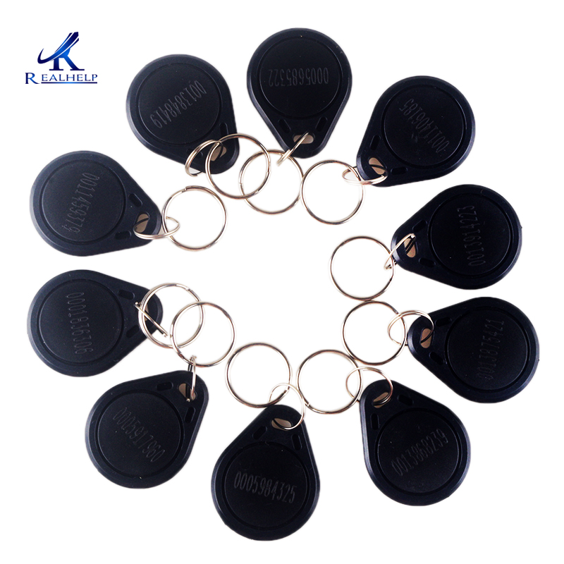 Key Keyfobs Chain 125Khz RFID Proximity Cards ID Card Door Entry Access ID Token Tag  Chain Black  TK4100