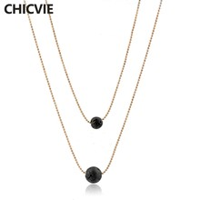 CHICVIE Necklace Jewelry Two Layers Thin Chain Beaded Aromatherapy Diffuser Lava Stone Statement Necklaces Pendants SNE180024(China)