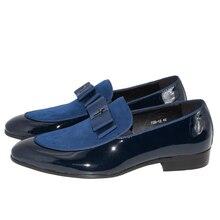 fda025dd Genuino patente de cuero de los hombres zapatos-Corbata de lazo de verano  Otoño de