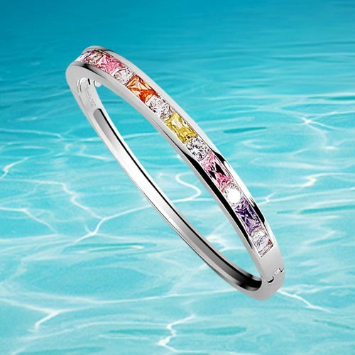 Solid 925 Sterling Silver Colourful CZ Crystal Rainbow Bangle Bracelet