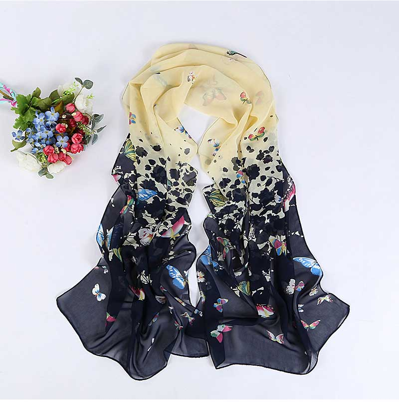 Long Chiffon Silk Scarves Fashion Design Butterfly Scarves Designers Women Summer Sunscreen Scarves Shawl P5A16284