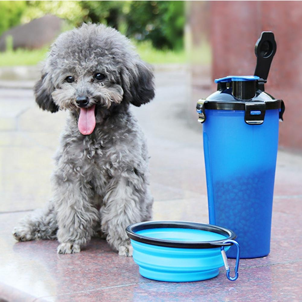 Outdoor Travel 2 In 1 Folding Dogs Cats Feeding Feeder Water Food Bottle Pet Bowls for Pet Dog Cat Puppy Water Bottle