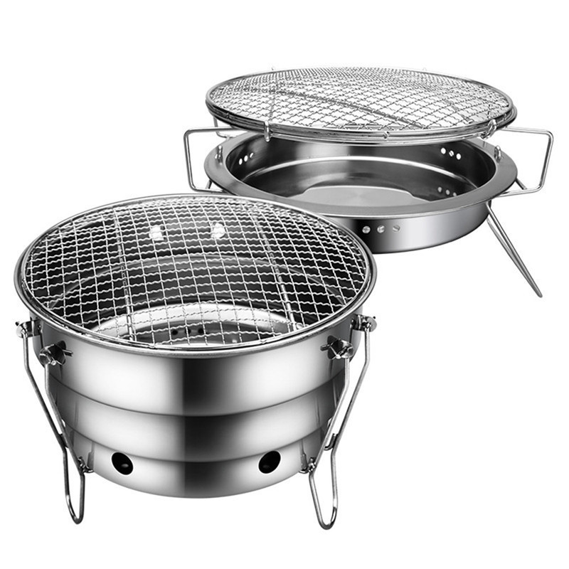 Stainless Steel Barbecue Oven Outdoor Portable Round Foldable Picnic Stoves Heating Camping Cookware Kamp point break outdoor camping cookware portable picnic stoves gas stove oven split type cs g18