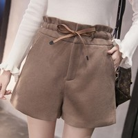 Women Autumn/Winter Thick Elastic High Waist Wide Leg Brief Woolen Shorts Fashion Casual Booty Shorts Bottoming Short TT3278