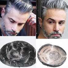 Eversilky Durable Hair Replacement Fine Mono Center Skin Front and Back Mens Toupee Natural Hair Wigs