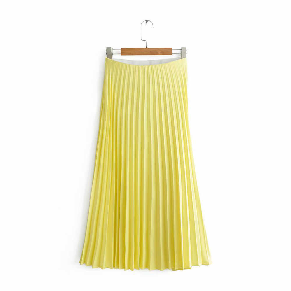 Women Casual Yellow Za Long Skirt 2019 Women Fashion Summer Pleated Skirts For Sweet Lady Elastic High Waist Street-wear Skirt