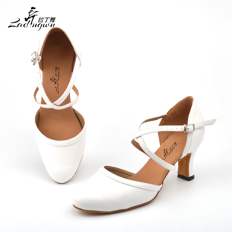 Ladingwu White Soft Bottom Closed Toe Ballroom Dance Competition Shoes Microfiber Synthetic Leather Latin Dance Shoes Woman
