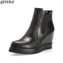 QZYERAI Autumn and winter flat female boots inner height women shoes leisure comfortable