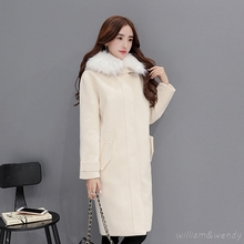 Woman Winter Warm Military Woolencoat Hooded Chinese Long Down Jacket Gray Maxi Coat Palto Faux Fur Collar Korean Cloak Clothing