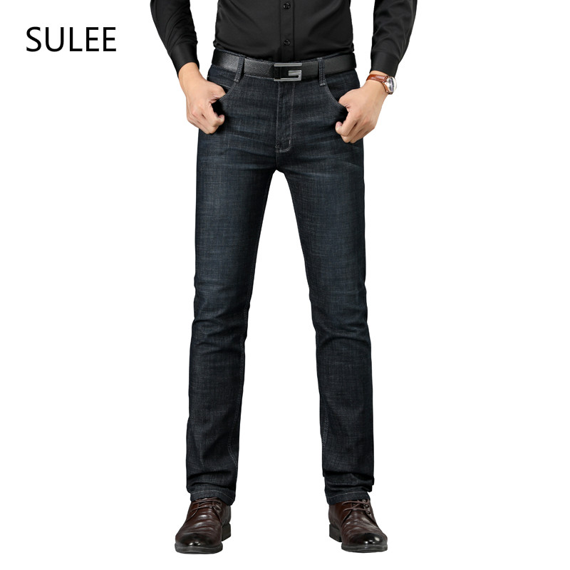 Sulee Brand European American Style Regular Mid Softener Straight Mid Weight Full Length Black High Quality Fabric Pockets Jeans