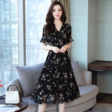 S-5XL Plus Size Chic Floral Dress Women Korean Casual Printed Loose Black Elegant Ruffle V Neck Midi Summer Dresses Ladies