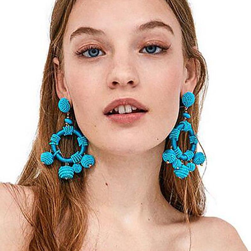 Best lady New Fashion Women Beads Drop Earrings Jewelry Earring Hot Sale Bohemian Round Ball Pendant Dangle Earring Wedding Gift