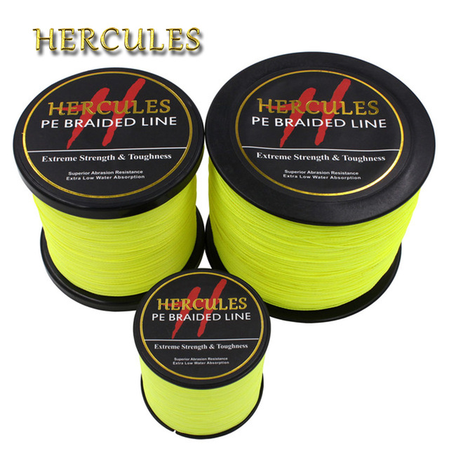 Hercules PE Braided Fishing Line Fluorescent Yellow Multifilament Fishing Cord Strong 4 Strands 100M 300M 500M 1000M 1500M 2000M
