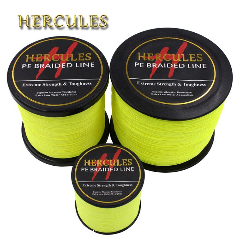 Hercules PE tressé ligne de pêche jaune fluo Multifilament corde de pêche forte 4 brins 100M 300M 500M 1000M 1500M 2000M