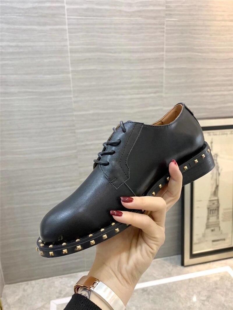 Occasionnels orange Femmes En De Mode Croix Véritable Rivet Chaussures Automne Black Noir claret Printemps Preppy Cuir Style Britannique attaché Femme FHqFt