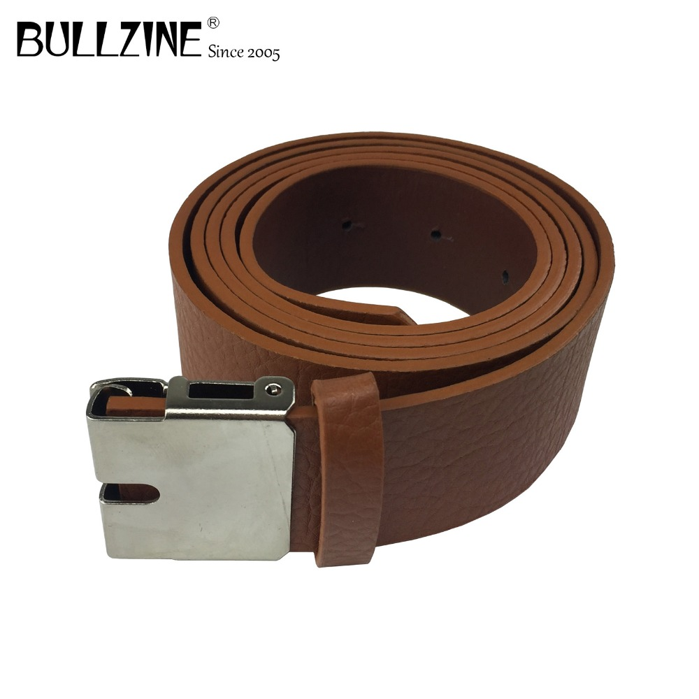 The Bullzine retail wholesale brown PU belts with connecting clasp for buckles with 4cm width