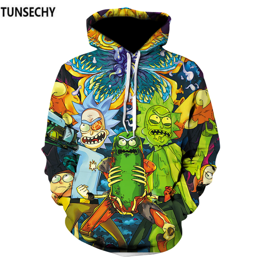 TUNSECHY Brand Cosmos 2018 Fashion Brand 3D Hoodies Cartoon Rick And Morty Print Women/Men Hoody Casual Hooded Sweatshirts
