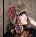Красная Женщина России Открытый Меха Бомбардировщиков Шляпы Для Женщин 2016 новый Трикотажные Лыжный Шляпу Защиты Уха Зимние Шапки Шапка Шапки мочка уха