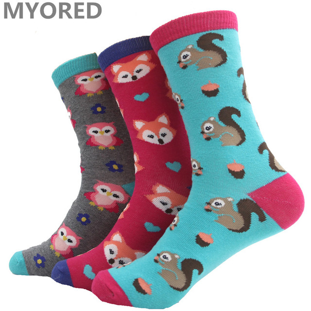 MYORED cartoon squirrel fox owl cute lovely animal cotton short socks women girls lady female crew sock candy color winter