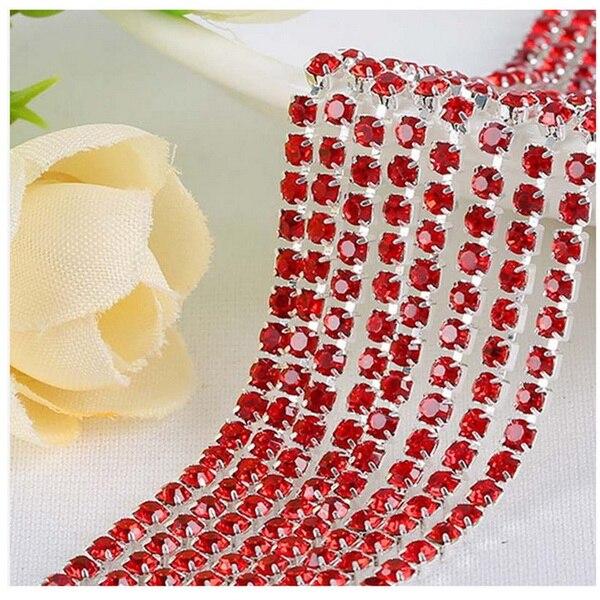 1 м/лот пришитые хрустальные стразы на цепочке SS6 SS8 SS10 SS12 Серебряная основа плотная коготь стеклянная отделка горного хрусталя DIY аксессуары - Цвет: Red