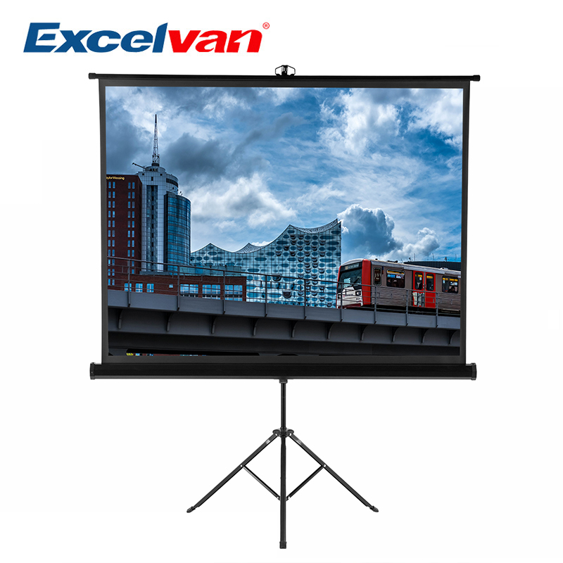 Excelvan 100 Inch 4:3 1.1 Gain Portable Pull Up Braceket Projector Screen For HD Movies Projection with Stable Stand Tripod fast free shipping 100 4 3 tripod portable projection screen hd floor stand bracket projector screen matt white factory supply