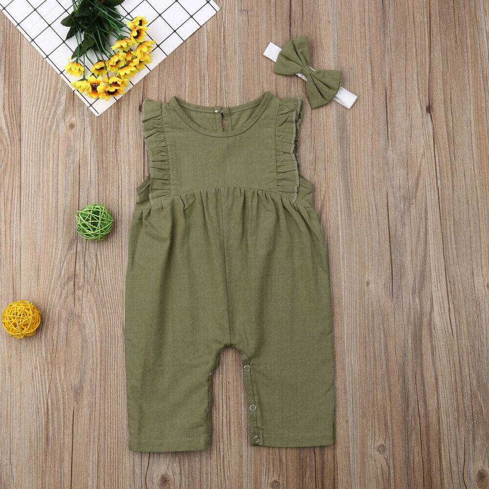 0-24M Cute Newborn Baby Girl Ruffles Sleeve Solid Color Cotton   Romper   Jumpsuit Headband 2PCS Outfits Summer Clothes