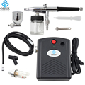 OPHIR 0.3mm Airbrush Spray Paint Air Compressor Kit for Hobby Temporary Tattoo Car Painting#AC034+AC005+AC011