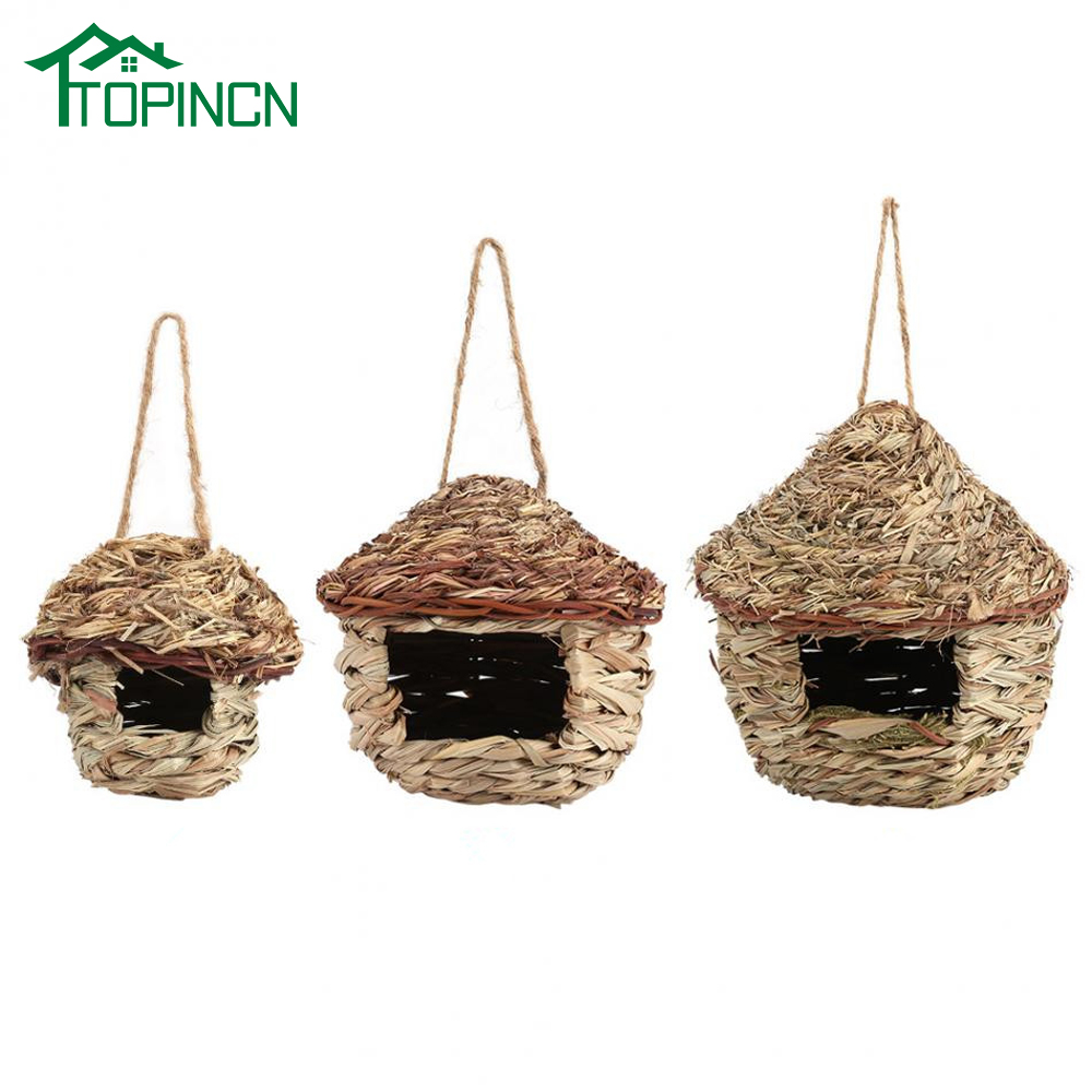 4x Bird Nest Breeding Box Wild Grass Weave Canary Finch Budgie House Small
