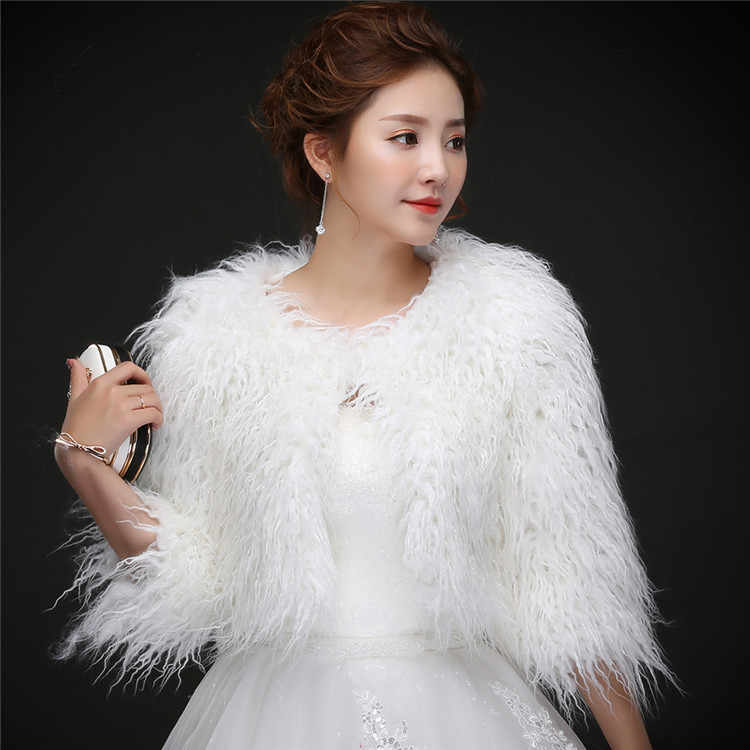 Casual Women Bolero Wedding Wraps Shawls Warm Outerwear Winter Jacket Long Sleeve Wedding Jacket Dress With A Coat