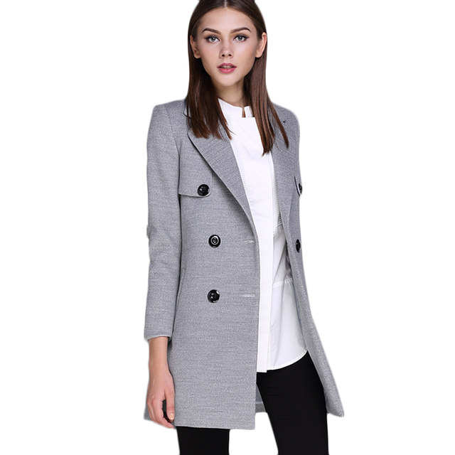 2017 Spring Women's Suit Ladies Dust Coat Women Medium-Long Winter Lapel Outerwars Female Elegant Jacket Casual Slim F1817