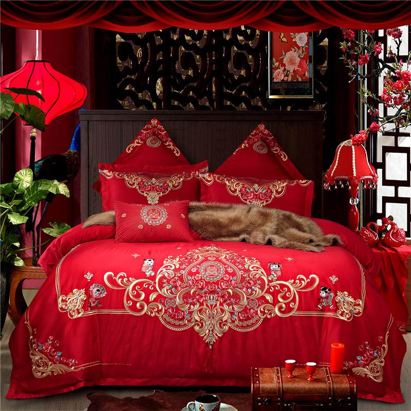 4/6/10pcs Luxury Red Wedding style Golden Royal Embroidery 100% Cotton Bedding Set Duvet Cover Bed Linen Bed sheet Pillowcases4/6/10pcs Luxury Red Wedding style Golden Royal Embroidery 100% Cotton Bedding Set Duvet Cover Bed Linen Bed sheet Pillowcases