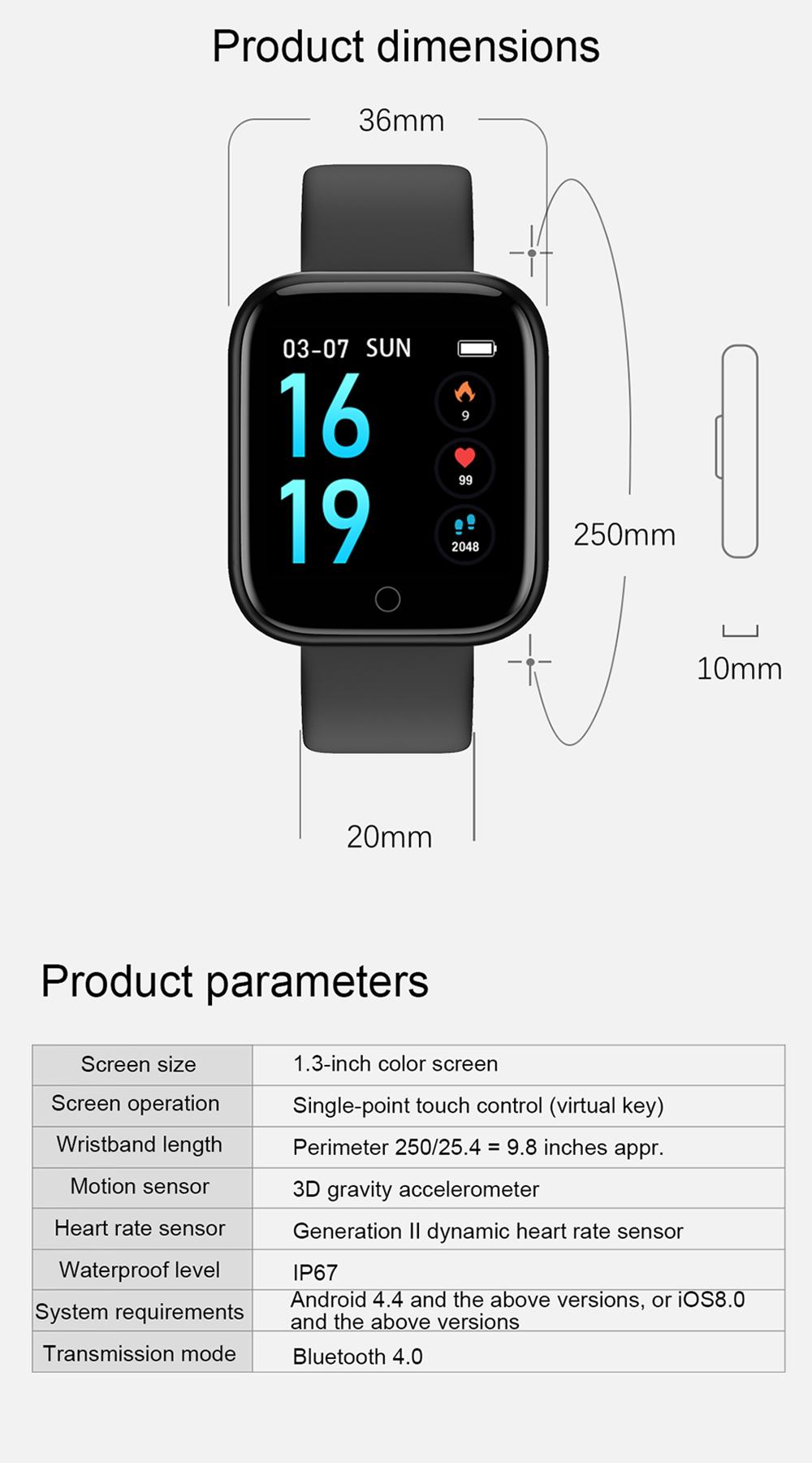 Reloj inteligente impermeable T80 Bluetooth 13