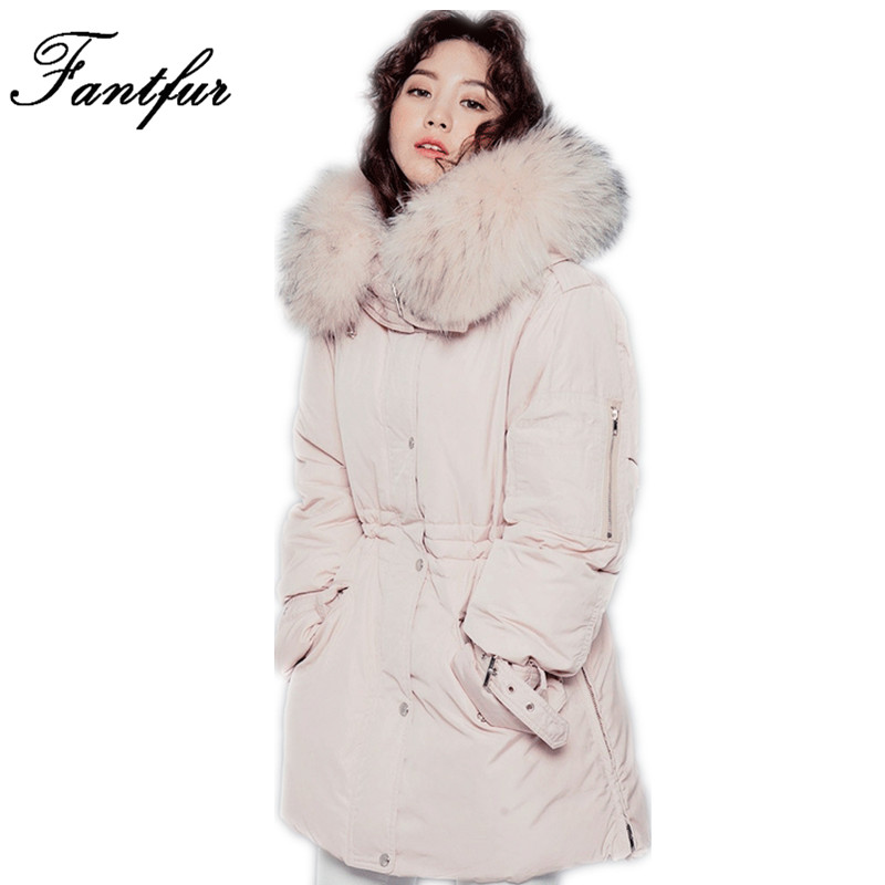 FANTFUR Real Raccoon Fur Hooded Coat Parkas Outwear Long Detachable Lining Winter Jacket Brand Style Real Mongolia Sheep Fur