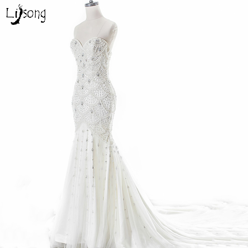 Full Beading Mermaid Sheath Wedding Dresses Long Sweetheart Custom Made Scaled Beaded Luxury Bridal Formal Maxi