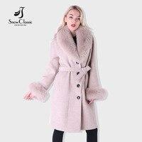 Зимние классические Новый стиль женские кашемировое пальто длинные Стиль настоящие волосы воротник ветрозащитный Теплый большой Размеры