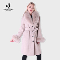 Snow Classic New Style Female Cashmere Coat Long Style Real Hair Collar Windproof Warm Large Size Windbreaker Lapel Belt Fashion