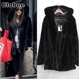 Faux Fur Coat  2019 Winter Women's Plus Size  Mink Fur Coats  Hooded Fur Overcoats Cheap Womens Autumn  Jackets Outerwear  DH555