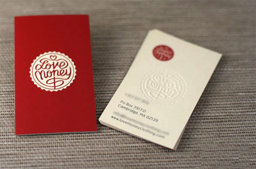 Custom Thin 300gsm Red Paper Business Card Debossed logo Print Name