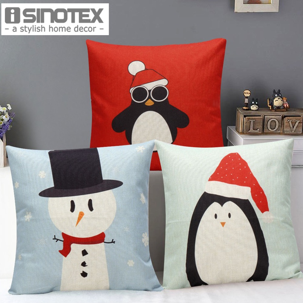 Buy christmas snowman penguin print sofa for Decorative home products