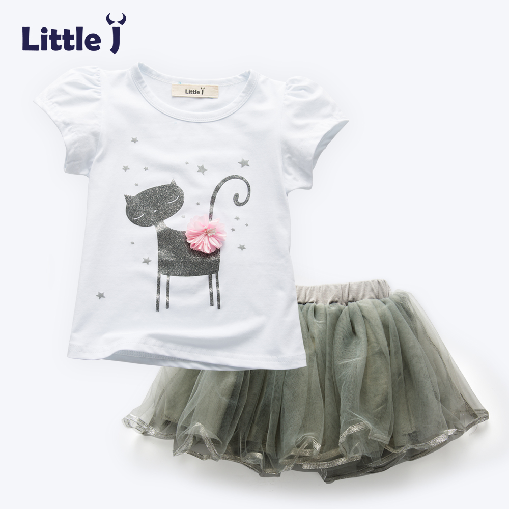 Little J 2Pcs Cute Cat Summer Girls Clothes Sets Cotton Short Sleeve Girl T-Shirt+Lace Tutu Skirts Children Kids Clothing 2-6Y 2017 new fashion kid girls clothes little girls summer short sleeve t shirt tops and cute heart striped legging pant 2pcs 1 6y