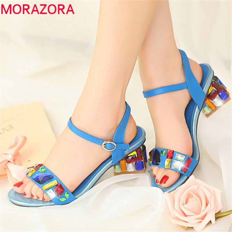 MORAZORA 2019 New Arrival women sandals crystal buckle square heels shoes sweet simple summer shoes party