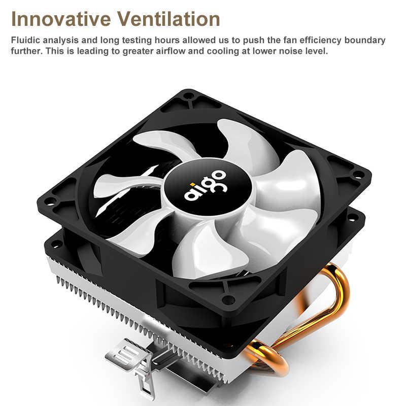 Aigo وحدة المعالجة المركزية برودة 2 Heatpipes المبرد PWM PC مروحة أنبوب تدفِئة led AMD الصامتة 3Pin مبرد الكمبيوتر CPU إنتل 115X/775/AM3/AM4