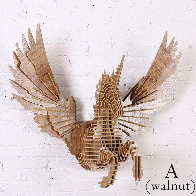 3D FAI DA TE In Legno Unicorn Arazzi Moderno Nordic Stile Creativo di Legno Testa di Animale Mitico Unicorno In Legno Decorazione Della Parete di 72*88*45 cm - 3